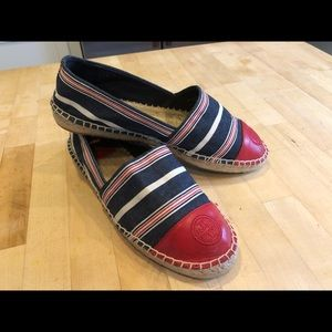 Tory Burch Leather/Canvas Espadrille, size 9